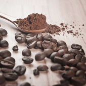 Coffee beans and cocoa — Stockfoto