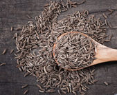 Indian cumin seeds in a spoon — Stock Photo