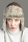 Beautiful Woman wearing Fur Hat — Stock Photo