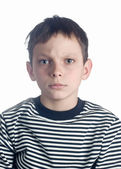 Close-up portrait of angry boy — Stock Photo
