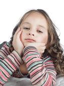 макро портрет милой девочкой — Стоковое фото
