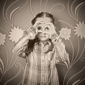 Black and white portrait of a girl — Stock Photo