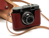 Vintage film camera with case #1 — Stock Photo