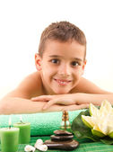 Smiling boy with the physiatrist in therapy — Stock Photo