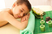 Boy rests with spa — Stock Photo