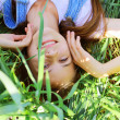 Girl on the nature of the resting — Stock Photo