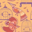 Birds and cages seamless pattern — Stock Vector