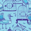 Stock Vector: Birds and cages seamless pattern