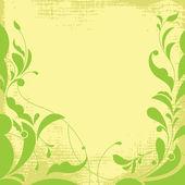 Fundo grunge com folhas ornamentais. — Vetor de Stock