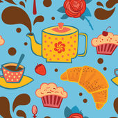 お茶のシームレスなパターン — ストックベクタ