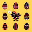 Easter chicken and eggs card - black — Stock Vector