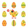 Easter chicken and eggs card -green — Stock Vector