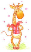 Greeting card of cartoon giraffe — Stock Photo