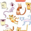 Stock Vector: Set of eleven different cats