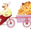 Stock Vector: Baker on bicycle