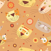 Cats faces pattern — Stock Vector