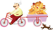 Baker on a bicycle — Stock Vector