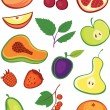 Fruits and berries set — Stock Vector
