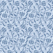 Stock Vector: Blue floral seamless pattern