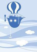 Blue flying ship — Stock Vector