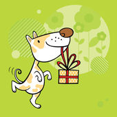Greeting card with dog character — Stock Vector