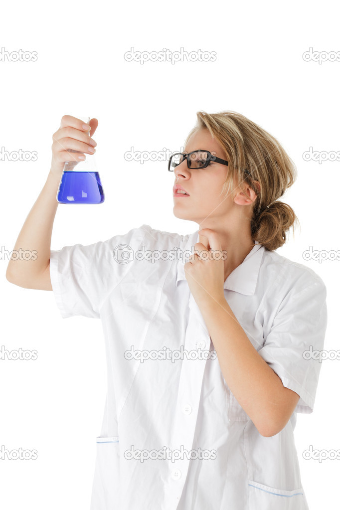 Scientist making science experiment isolated over white background — Stock Photo #8007686