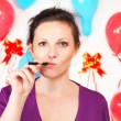 Stock Photo: Woman with electronic cigarette