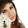 Girl with chrysanthemum — Stock Photo