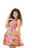 Happy woman in mini dress — Stock Photo