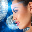 Girl in hight disco club — Stock Photo