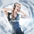 Girl listening disco music — Stock Photo