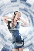 Girl listening disco music — Stock Photo