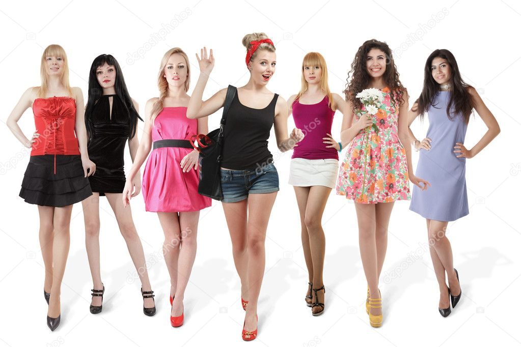 Large group of young women isolated over white background — Stock Photo #9650500