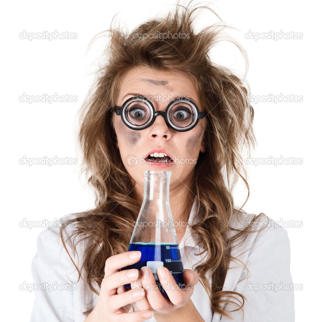 Crazy chemist woman with disheveled hair and vial in hands  Stock Photo #9650505
