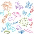 Summer Beach Items — Stock Vector