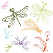 Dragonfly Drawing Set — Stock Vector