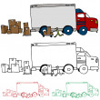 Stock Vector: Moving Truck Profile View