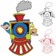 Children Riding Train — Stock Vector