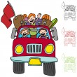 Stock Vector: Road Trip Pickup Truck Family