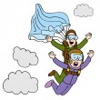 Tandem Sky Diving Woman - Stock Vector