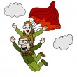 Tandem Sky Diving - Stock Vector