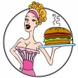 Old Fashioned Diner Waitress Serving Hamburger — Stock Vector #8069257