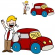 Stock Vector: Car Salesman Using His Digital Tablet Device