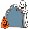 Tombstone Ghost Pumpkin — Stock Vector
