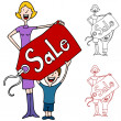 Stock Vector: Mother and Son Holding Sale Pricetag Sign
