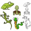 Reptile and Frog Set - Stock Vector