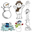 Cartoon Snowman Set - Stock Vector