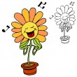 Singing Flower — Stock Vector
