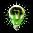Green Lightbulb Head — Stock Vector
