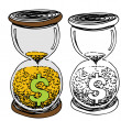 Hour Glass Money Sand — Stockvectorbeeld